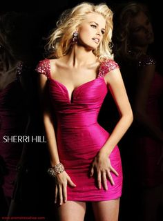The stylish silhouettes and high end materials of Sherri Hill dresses stand out at prom, homecoming, or any other formal event. Fabulous Dresses, Beautiful Gowns, Sexy Dresses, Short Dresses, Formal Dresses, Beauty And Fashion, Pink Fashion, Pink Dress, Dress Up