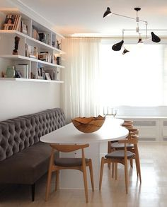 Ghost Table - Mid Century Chairs - Banquette - David Weeks lighting fixture...Love the Banquette!!!
