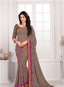 Pleasant Brown Color Casual Printed Saree