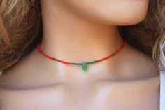 Winzige Perlen Choker Halskette, rote Seed Perlen & Leaf einfache Schmuck