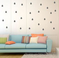 Raindrops Vinyl Wall Art Decal by Jeaniologie on Etsy