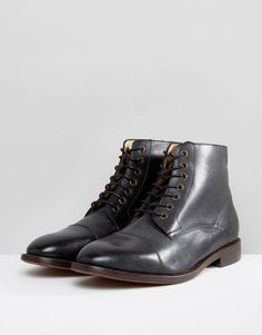 Hudson London Seymour Leather Lace Up Boots In Black - Black