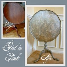 Girl in Pink: Color and Shimmer for an Old Tilt Top Table