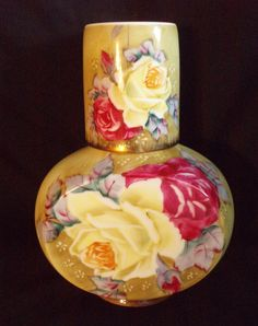 Nippon tumble up yellow rose bedside pitcher and cup antique FREE SHIP OBO