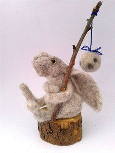 Moon Gazing Hare with the moon on a stick Needle felt ooak wool Sculpture.$59.45