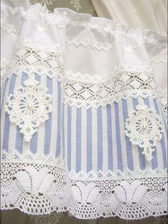 Curtains – Shabby chic Landhausgardine blau Bistrogardine 48 – a unique product by bluebasar on DaWanda