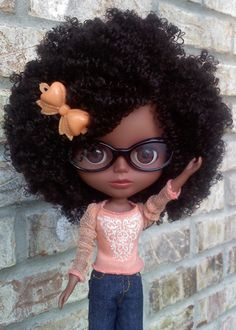 Blythe natural hair doll.  cute afro, big hair, natural hair, curly hair, black hair.