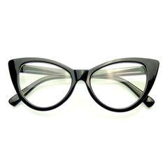 fccccfa9bbc7b Super Cat Eye Glasses Vintage Inspired Fashion Mod Clear Lens Eyewear - Red  Super Cat