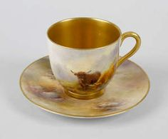 A Royal Worcester hand painted cup and saucer by Harry Stinton