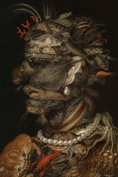 In the 16th century, painterGiuseppe Arcimboldoturned the portrait painting genre on its head with his topsy-turvyComposite Heads.