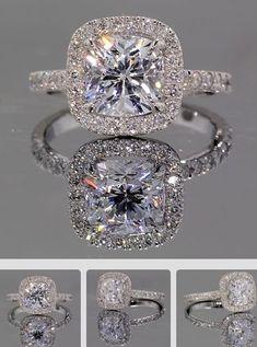 Halo Diamond Ring | {ʝυℓιє'ѕ đιåмσиđѕ&ρєåɾℓѕ} Halo Engagement Rings, Halo Rings, Solitaire Ring, Beautiful Engagement Rings, Cool Wedding Rings, Wedding Bands, Wedding Rings Vintage, Ruby Rings, Beautiful Wedding Rings