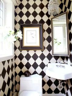 Harlequin bathroom- One wall is almost completed in our bathroom and then three more walls to go!  The difference is that the pattern is black and beige instead of black and white.  :)