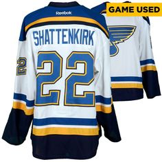 Kevin Shattenkirk St. Louis Blues Fanatics Authentic Game-Used 2016-17 50th Anniversary Season Set 1 Road White Jersey - Worn From October 12, 2016 Through November 23, 2016