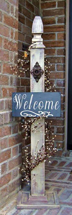 This super cute, rustic sign decorative post is perfect to dress up your home or business! Complete customization, including size, color, hanging option, sign, Pip Berries and finish. Post and welcome sign can greet your guest even before you open the door. You could also hang a wreath or a lantern for the perfect accent to your porch. These signs are made from new and reclaimed wood, hand-made and sealed to stand up to the elements. Size: Height 47, width 4 on the top and 10 on the…