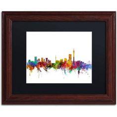 Trademark Fine Art Johannesburg South Africa Skyline Canvas Art by Michael Tompsett Black Matte, Wood Frame, Size: 11 x 14, Multicolor