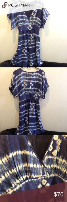 Calypso St. Barth Blue Silk Tye Dye Dress GORGEOUS blue Calypso St. Barth dress with a Tye dye pattern- lined inside and flutter like sleeves. Has a zipper closure on side. Worn once in new condition! Size small! Calypso St. Barth Dresses Midi