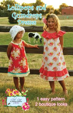 fairytale frocks and lollipops :: lilac lane patterns, melissa strammel, lollipops and gumdrops dress, girl, baby, infant, toddler, easy, boutique, school, play, church, birthday, summer, spring, fall, ruffle, a-line, sewing, sewing pattern, digital, inst