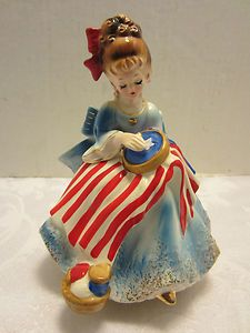 Josef Originals Betsy Ross Figurine Music box Patriotic God Bless America Japan