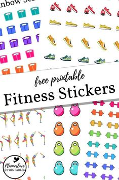 Free printable fitness stickers for your planner! running shoes yoga stickers rainbow kettlebells and barbells click through to browse them all freeprintable stickers planner fitness healthandfitness weightloss erin condren wellness log Printable Planner Stickers, Journal Stickers, Free Printables, Free Planner, Planner Pages, Planner Layout, Monthly Planner, Fitness Planner, Fitness Binder