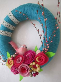 "Pink Bird Teal Yarn Wreath 12"". $40.00, via Etsy."