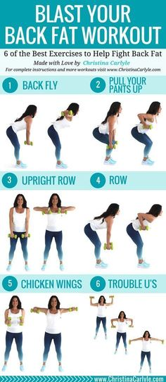 This back workout will help you burn back fat. Do all 6 of these of these fat burning back exercises for a complete workout that's perfect for women. #exercises #workoutforwomen