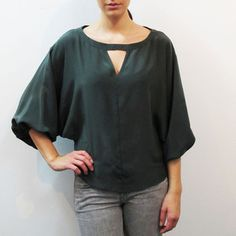 Raquell Blouse Dark Green, $125, now featured on Fab.