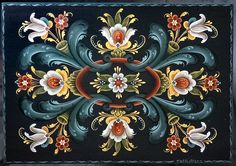 The Story of Norwegian Rosemaling - Daily Scandinavian Norwegian Tattoo, Rosemaling Pattern, Norwegian Rosemaling, Scandinavian Folk Art, Pintura Country, Tole Painting, Tole Decorative Paintings, Painting Tips, Watercolor Painting