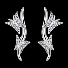 3 Pair 925 Silver Plated Zircon Butterfly Dangle Stud Earring