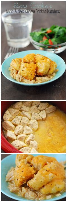 Crockpot recipes are perfect for a family dinner! We loved these Garlic & Herb Cheesy Chicken Dumplings. (Chicken Dumplings Dough)