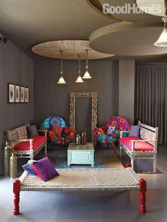 Modern Contemporary Living Room Design and Decor Ideas 09 Ethnic Home Decor, Indian Home Decor, Indian Living Rooms, My Living Room, Small Living, Cozy Living, Living Spaces, Home Decor Furniture, Home Decor Bedroom