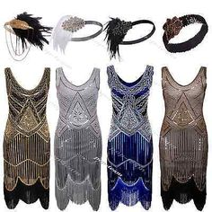 1920s Flapper Dress Gatsby Charleston Deco Beaded Sequin Fringed Party Costume