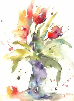 Simple Loose Watercolor 'Tulip's' with Andrew Geeson Art Watercolor, Watercolor Video, Watercolor Projects, Watercolour Tutorials, Watercolor Flowers, Abstract Watercolor Tutorial, Paint Flowers, Painting & Drawing, Flower Art