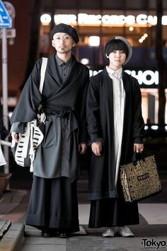 Hatty and Mitsu on the street in Harajuku after dark. Their minimalist looks include items from Yu by Jalan Jalan, Christopher Nemeth, Junya Watanabe for Comme Des Garcons, Vivienne Westwood, Japanese Street Fashion, Tokyo Fashion, Harajuku Fashion, New Fashion, Trendy Fashion, Fashion Trends, Fashion 2018, Fashion Fashion, Spring Fashion