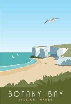 Botany Bay near Margate and Broadstairs, Thanet, Kent coast. This picture is… Posters Uk, Beach Posters, Art Deco Posters, Vintage Travel Posters, Poster Prints, 1950s Posters, Railway Posters, Art Print, Retro Poster