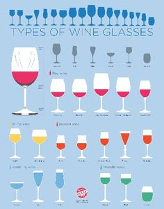 What Type of Stemware is Right for You?  There are a gazillion different types of wine glasses out on the market. So, what should you buy? Discover what glassware fits your wine drinking habits and what the best options are to build a proper wine glass set.   Check out this cool chart on the different types of wine glasses. Identify the different styles so that you can better decide what to buy based on your needs.