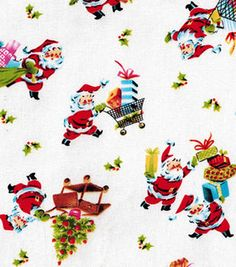 Holiday Inspirations Christmas Fabric Santas Presents