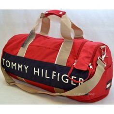 3289b9039 Tommy Hilfiger Red and Blue Large Duffel/Travel Bag at OrlandoTrend.com