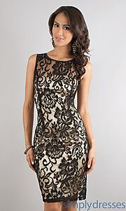 Buy Short Sleevelss Lace Dress at SimplyDresses
