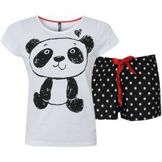 Bank Panda Pyjamas ($9.79) ❤ liked on Polyvore featuring intimates, sleepwear, pajamas, pijamas, shirts, pyjamas, tops, polka dot pjs, polka dot jersey and polka dot sleepwear