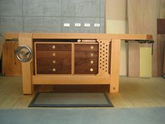 Woodworking Workbenches This is my workbench.According to my past working habit,I choose a hybrid Roubo style.The whole set is made by beech.Draw front is walnut. Workbench With Drawers, Workbench Top, Workbench Plans, Woodworking Bench Plans, Fine Woodworking, Woodworking Projects, Sketchup Woodworking, Tool Bench, Diy Bench