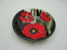 Red Poppies in Black Field Fused Glass Bowl by JanuaryMayDesigns