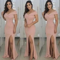 Tight prom dresses - OffShoulder Satin Mermaid Long prom Dresses with Front Slit – Tight prom dresses Long Tight Prom Dresses, V Neck Prom Dresses, Long Bridesmaid Dresses, Formal Dresses, Designer Party Dresses, Plus Size Cocktail Dresses, Sequin Party Dress, Mode Inspiration, The Dress