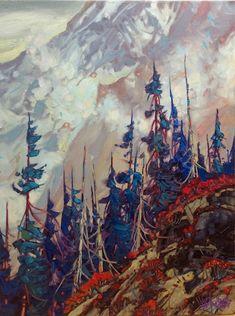 "'Mountain Mist' 24"" x 18"" Oil on Canvas by BC Artist Dominik Modlinski"