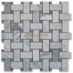 Calacatta Gold 1x2 Basketweave Mosaic Tile W Gray Dots Polished