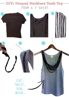 DIY: Draped Necklace Tank Top From A T-Shirt
