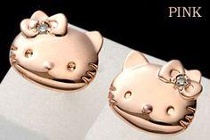 Strapya World : Sanrio Hello Kitty Mini Diamond Pierced Earrings (Pink)