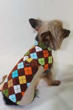 Brown Argyle Harness Coat by SoBellePets on Etsy, $20.00