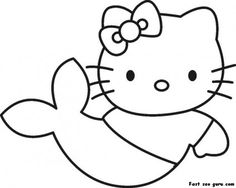Prin out Hello Kitty Little Mermaid Coloring in Page - Printable Coloring Pages For Kids