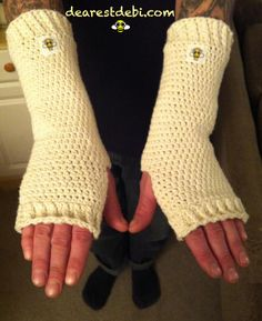Crochet Cotton Arm Warmers Pattern by DearestDebi