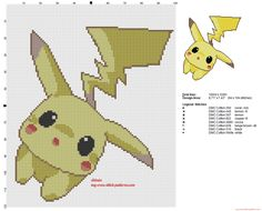 The Pokemon Pikachu tender and sweet cross stitch pattern - free cross stitch patterns simple unique alphabets baby Beaded Cross Stitch, Crochet Cross, Cross Stitch Embroidery, Embroidery Patterns, Kawaii Cross Stitch, Pokemon Cross Stitch, Cross Stitch Designs, Cross Stitch Patterns, Pikachu